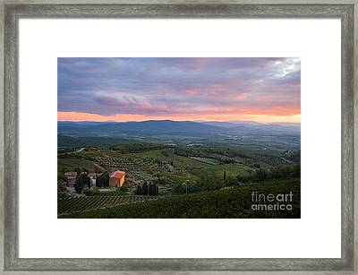 Tuscan Farmhouse Landscape In Evening Light Framed Print by Peter Noyce
