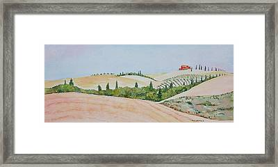 Tuscan Hillside One Framed Print by Mary Ellen Mueller Legault