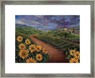 Tuscan Landscape Framed Print by Claudia Goodell