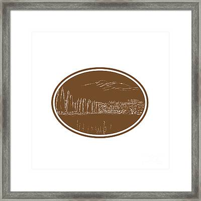 Tuscan Landscape Italy Woodcut Framed Print