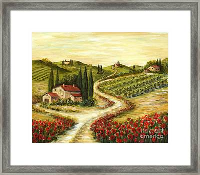 Tuscan Road With Poppies Framed Print