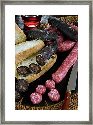 Tuscan Sausages, Tuscan Food, Tuscany Framed Print by Nico Tondini