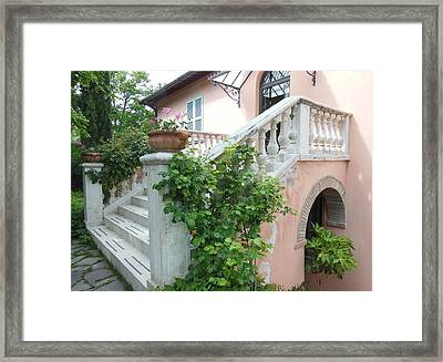 Tuscan Staircase With Flowers Framed Print by Marilyn Dunlap