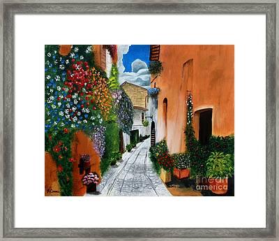 Tuscan Street Scene Framed Print by Bev Conover