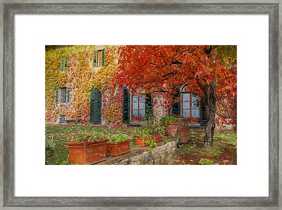 Tuscan Villa In Autumn Framed Print