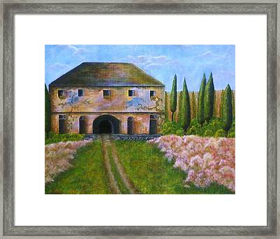Framed Print featuring the painting Tuscan Villa by Tamyra Crossley