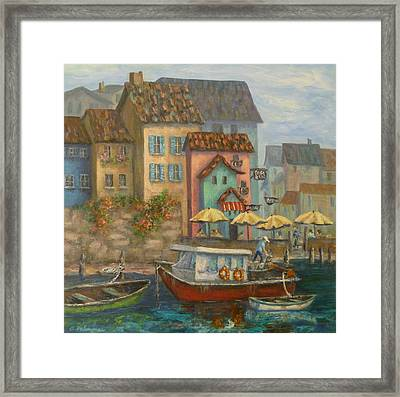 Tuscan Village Boat Paintings Framed Print
