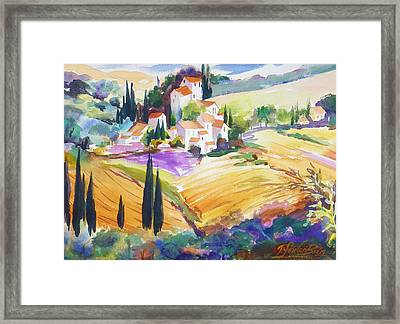 Tuscan Villas And Fields Framed Print by Therese Fowler-Bailey