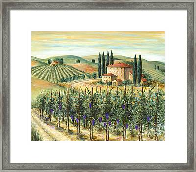 Tuscan Vineyard And Villa Framed Print by Marilyn Dunlap
