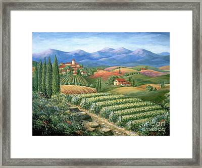 Tuscan Vineyard And Village  Framed Print by Marilyn Dunlap
