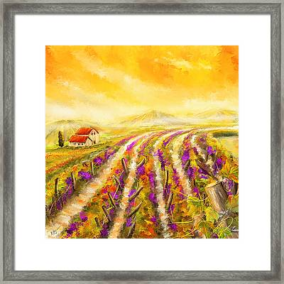 Tuscan Vineyard Sunset - Vineyard Impressionist Paintings Framed Print by Lourry Legarde