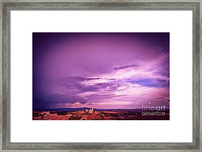 Tuscania Village With Approaching Storm  Italy Framed Print