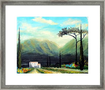 Framed Print featuring the painting Tuscany Colors by Larry Cirigliano