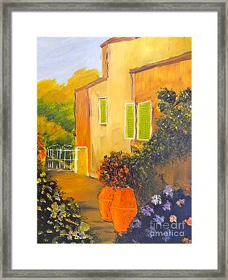 Framed Print featuring the painting Tuscany Courtyard by Pamela  Meredith