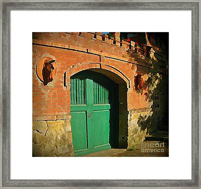 Tuscany Door With Horse Head Carvings Framed Print