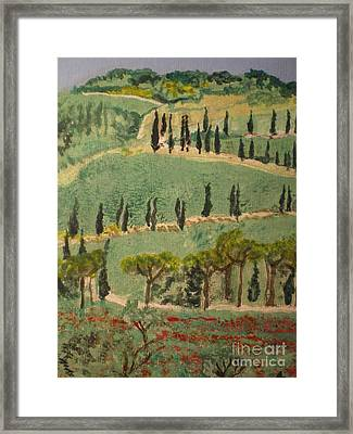 Tuscany Landscape Framed Print by Ann Fellows