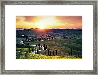 Tuscany Landscape At Sunset Framed Print by Borchee