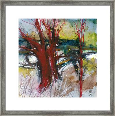 Tuscany Landscape With Red Tree Framed Print by Alessandro Andreuccetti