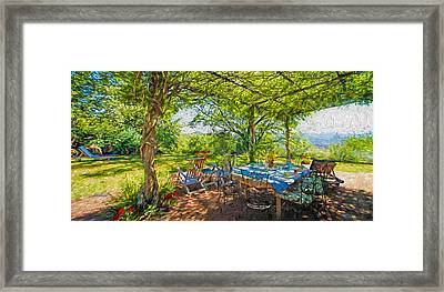 Tuscany Lunch Framed Print by Garland Johnson