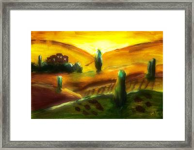 Tuscany Sunrise Framed Print by Peg Holmes