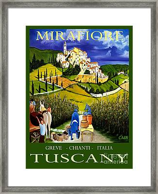 Tuscany Wine Poster Art Print Framed Print by William Cain
