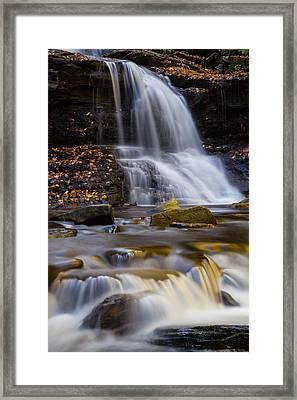 Tuscarora Falls At Ricketts Glen In Autumn Framed Print by Jetson Nguyen