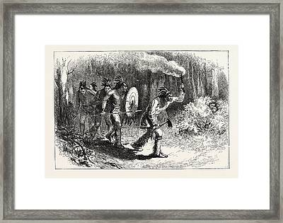 Tuscaroras Indians Tracking Fugitives Framed Print by American School