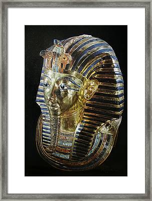 Framed Print featuring the painting Tutankamon's Golden Mask by Leena Pekkalainen