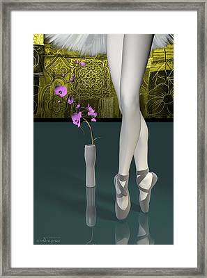 Tutu To Toe Shoes - Green Framed Print by Andre Price