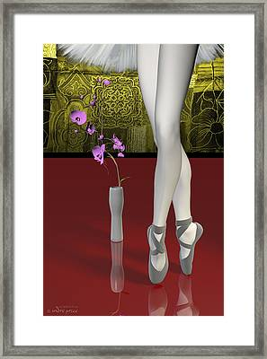 Tutu To Toe Shoes - Red Framed Print by Andre Price