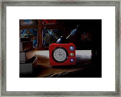 Tv Clock Framed Print