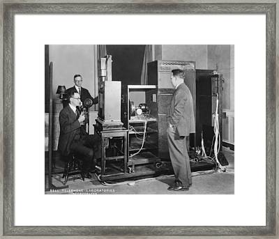 Tv Demonstration At Bell Labs Framed Print by Underwood Archives