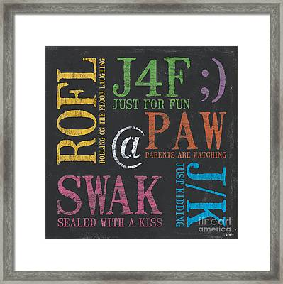 Tween Textspeak 1 Framed Print by Debbie DeWitt