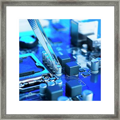 Tweezers And Computer Components Framed Print by Science Photo Library