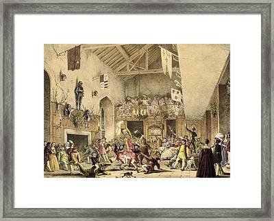 Twelfth Night Revels In The Great Hall Framed Print by Joseph Nash