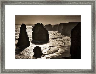 Twelve Apostles #3 - Black And White Framed Print