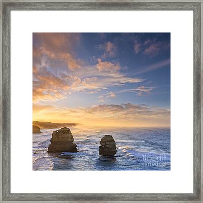 Twelve Apostles Sunrise Great Ocean Road Victoria Australia Framed Print by Colin and Linda McKie