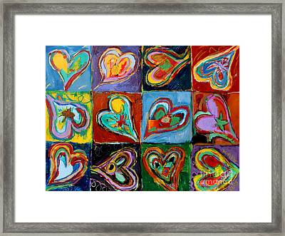 Twelve Dancing Hearts Framed Print by Kelly Athena