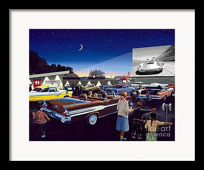 Drive In Theatre Framed Prints