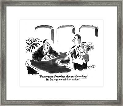 Twenty Years Of Marriage Framed Print