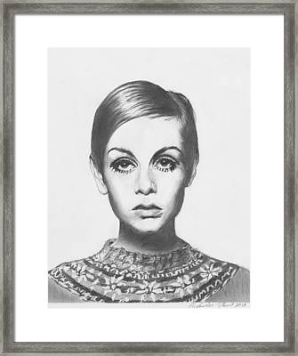 Twiggy - Pencil Framed Print by Alexander Gilbert