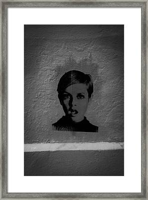 Twiggy Street Art Framed Print by Louis Maistros