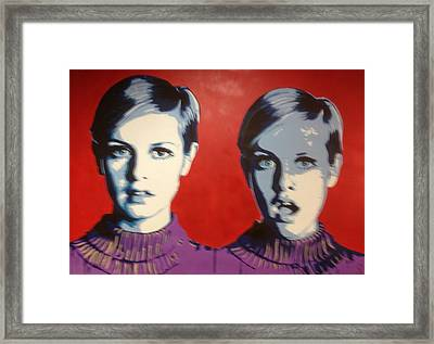 Twiggy Two Face Framed Print by Grant  Swinney