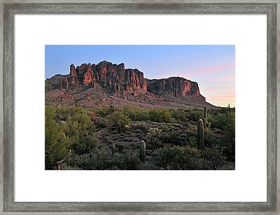 Twighlight At The Superstition Mountains Framed Print