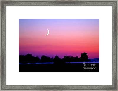 Twilight And Crescent Moon - Lummi Bay Framed Print by Douglas Taylor