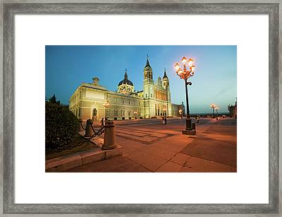 Twilight And Lights Coming On At Royal Framed Print