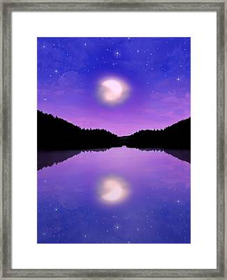 Twilight And The Moon Framed Print