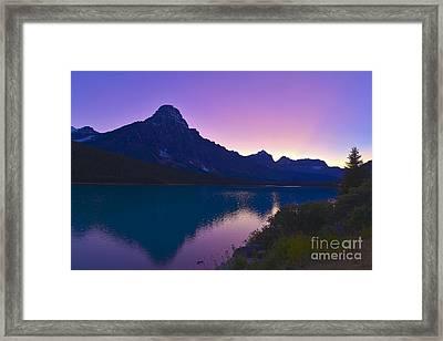 Twilight At Mt. Cephren, Waterfowl Framed Print