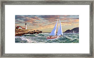Twilight At Portland 2 Framed Print by Ron Chambers