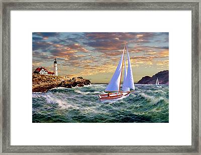 Twilight At Portland Framed Print by Ron Chambers